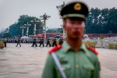 Flag lowering ceremony at Tiananmen Square.