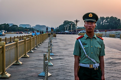 Standing guard at Tiananmen.