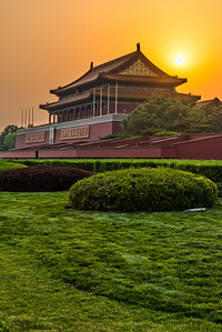 Sunset at the Gate of Heavenly Peace (Tiananmen).