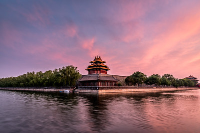 View of Forbidden City at sunset.