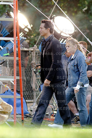 Benjamin Brad during the set of the TV series Private Practce with co-star Kate Walsh, in los Angeles,California.