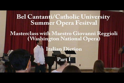 Maestro Giovanni Reggioli. Masterclass. Italian Diction and Style. Part 2.