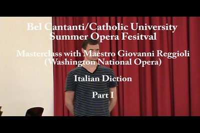 Maestro Giovanni Reggioli. Masterclass. Italian Diction and Style. Part 1
