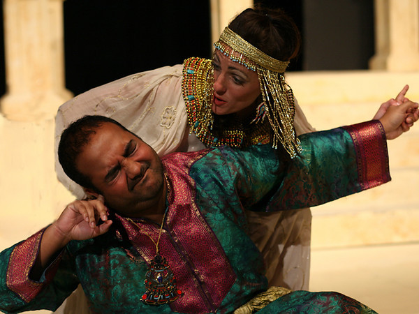 Act I <i> Non disperar</i>, Cleopatra: Bridgid Eversole <i>L'empio, sleale, indegno</i>, Tolomeo: Biraj Barkakaty Nireno: Sean Pflueger