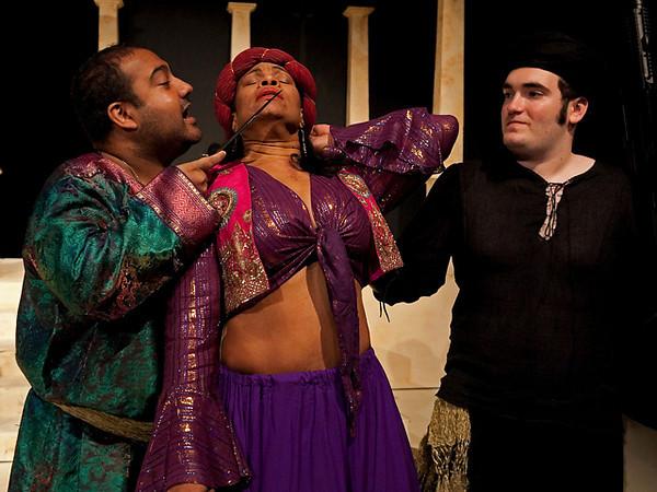 Act II <i> Deh piangete</i>, Cornelia: Anamer Catrello <i> Si spietata</i>, Tolomeo: Biraj Barkakaty  Achilla: Eric Black