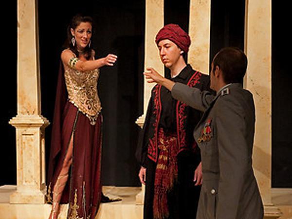 Act II <i> V'adoro pupille</i>, Cleopatra: Bridgid Eversole, Cesare: Nicholas Tamagna, Nireno: Sean Pflueger