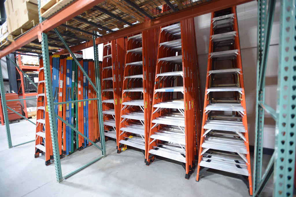 . PETE  BANNAN-DIGITAL FIRST MEDIA     Spare ladders at Belfor property restoration in Exton .