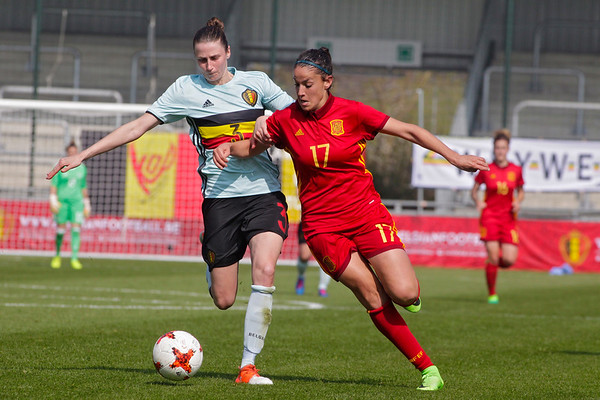 2017-04-08 - Eupen - Interland - Belgium Red Flames - Spain - Olga Garcia (Spain) - Heleen Jaques (Belgium)