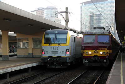 1817 & 828 at Brussel Nord on 14th November 2011