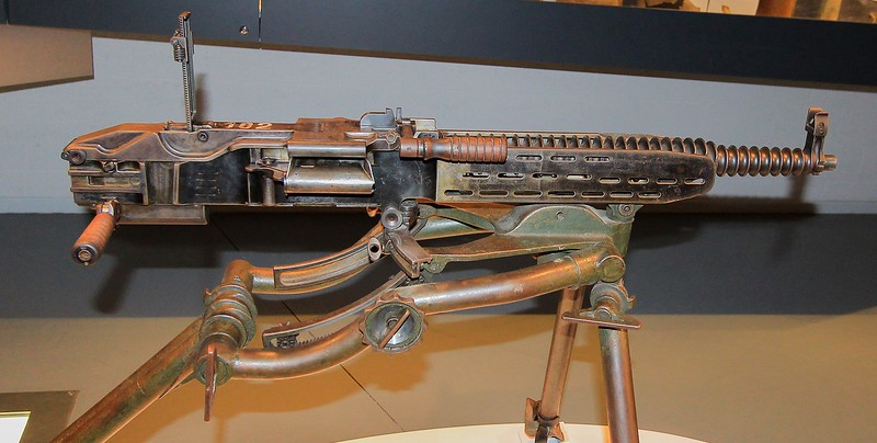 I love the patina on this cutaway machine gun. I could not read the data plaque, but am guessing it is German.