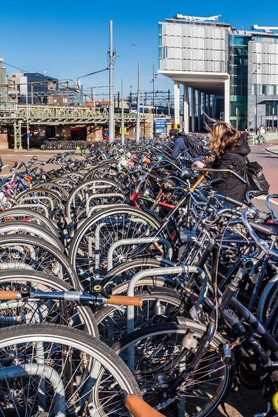 THE NETHERLANDS-AMSTERDAM-CENTRAL STATION-BIKE RACKS