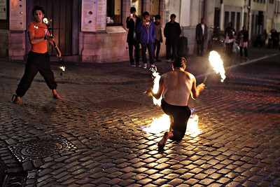 Fire Juggler at NIght in Brussels