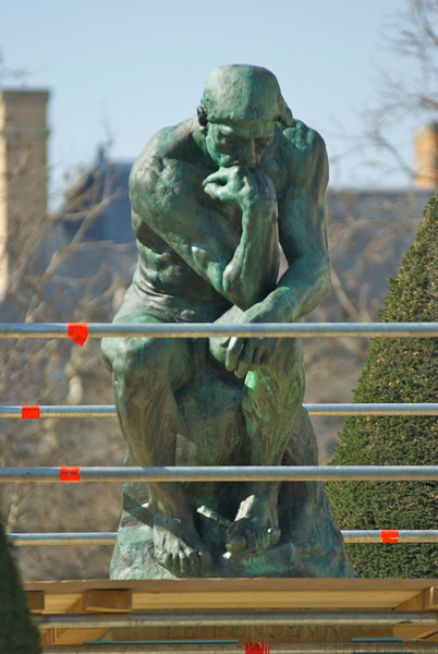 "The THINKER thinks: ""huh, why are there all of these bars around me?"""