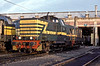 SNCB 7338 has 8450 for company as they sit in the depot yard at Ronet on 16 July 1989