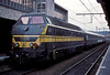 SNCB 5508 is seen at Liege Guillemens having arrived with a service from Luxembourg on 16 July 1989