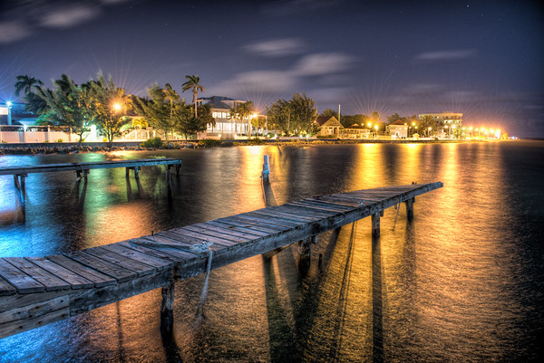I had the opportunity to head out the first night to snap some pictures from the dock. This is an HDR shot back towards town. Our hotel was to the left of the frame.