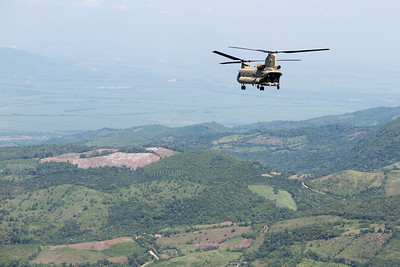 Flying north toward the Honduran Border enroute to a counter-drug mission in Belize.
