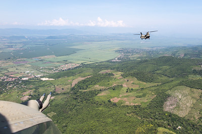 Flying north towards the Honduran border for a counter-drug mission in Belize.