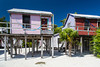 Colorful beach cottages on the island of Caye Caulker, Belize.
