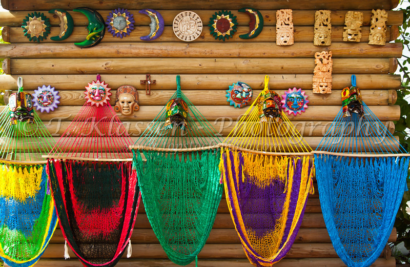 Colorful hammocks for sale as souvenirs in Belize City, Belize, Central America.