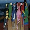 Closeup of Flamingo bird chair
