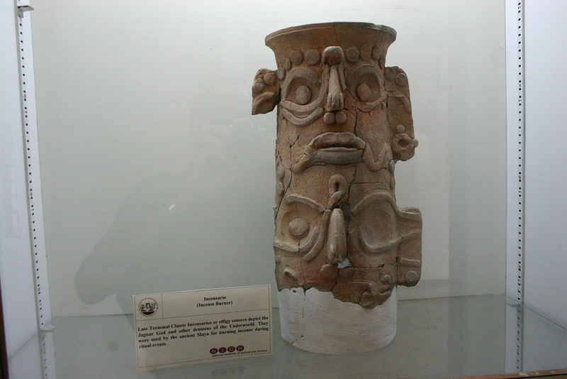 A small museum at the site displays some of the artifacts found there. This incense burner was used during ritual events.