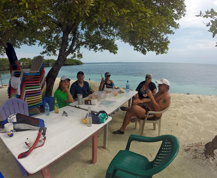 Terri, Brian, Karen, Maria, and Brent at Bread & Better Caye
