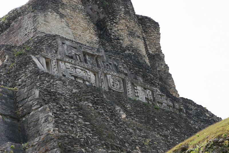 El Castillo is the largest building at Xunatunich and is 13 stories high. The plaster frieze west side dates between 800 and 900 AD.