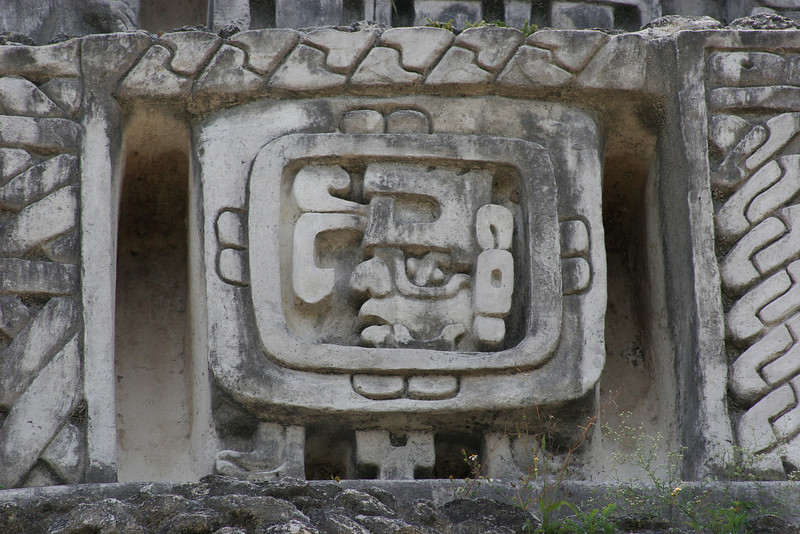 The three dimensional image of a Maya ruler is at the center of the 30 foot long frieze on El Castillo.