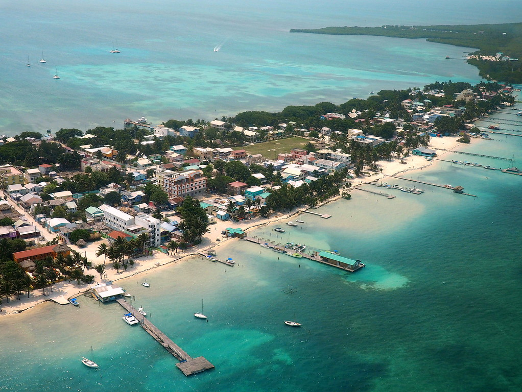 caye caulker aerial view belize