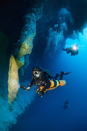 Side mount diver in the Great Blue Hole Belize