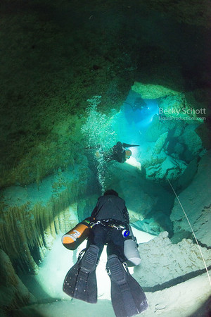 Cave diving under belize