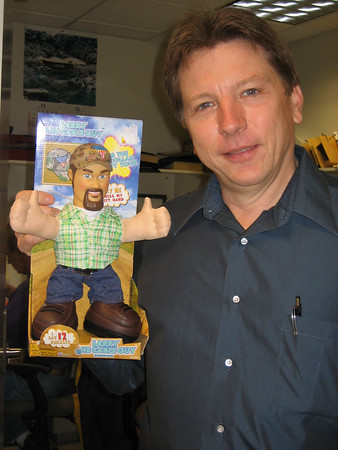 """Dennis opens the first package - It's a talking """"Larry the cable guy"""" ..."""
