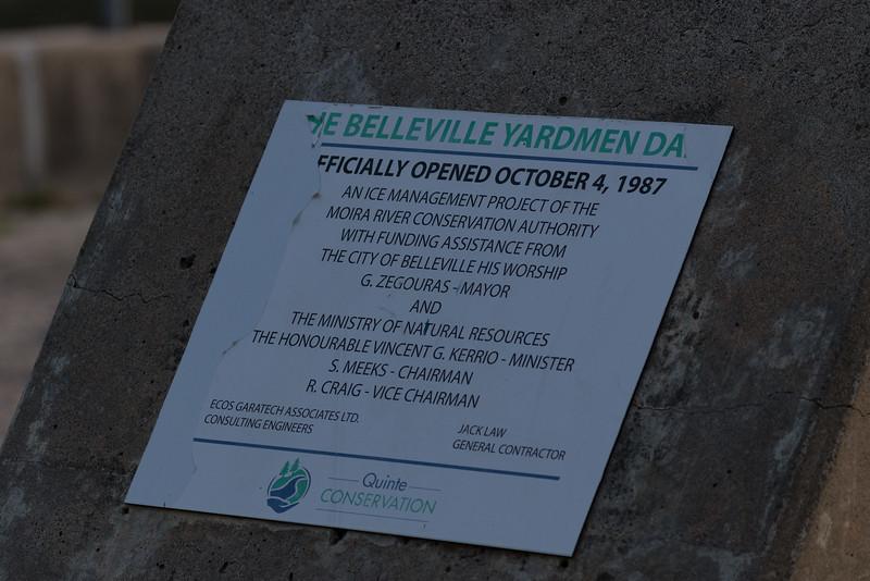 Belleville Yardmen Dam opened October 4, 1987 plaque.
