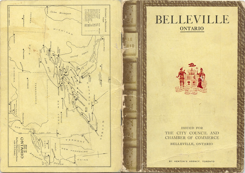 1920 Belleville Booklet - front cover, back cover with Ontario map