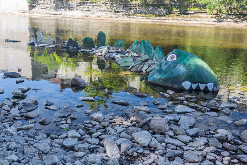 Sea monster sculpture in the Moira River.