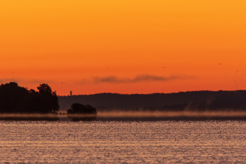 Fog in the distance down the Bay of Quinte before sunrise.