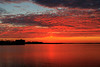 Almost appears as if the sun is up but it is just sun pillar. Looking down the Bay of Quinte before sunrise 2017 May 12th.