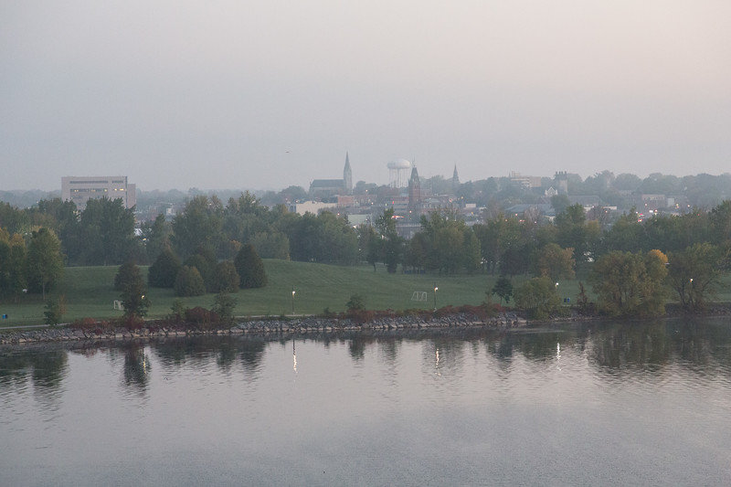 Downtown Belleville before sunrise from the Norris Whitney Bridge.