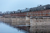 Canadian Pacific Railway oil train crossing the Moira River in Belleville Ontario.