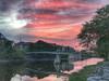 HDR sunset up the Moira showing foot bridge.