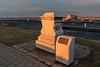 Original base of Moodie tombstone near Meyers Pier at sunrise.