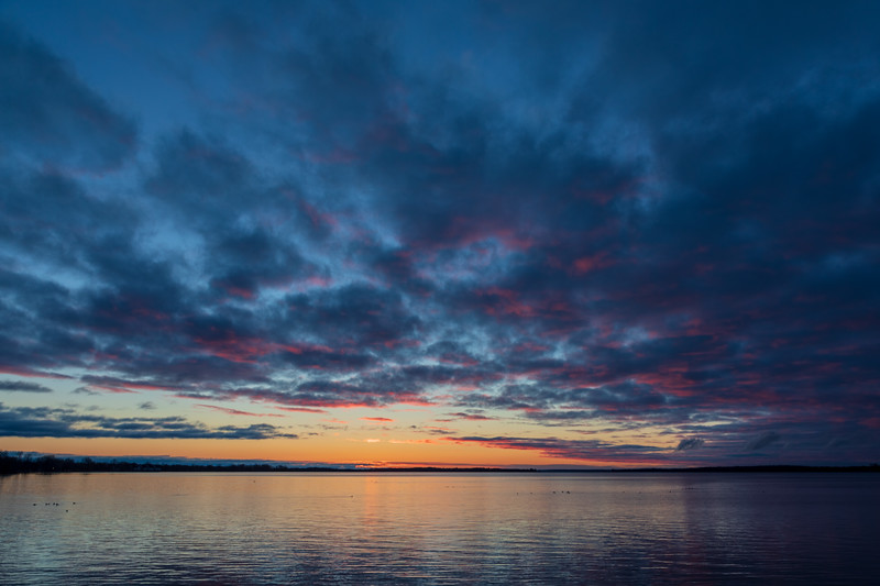 Looking down the Bay of Quinte before sunrise. HDR from three exposures produced in Lightroom.