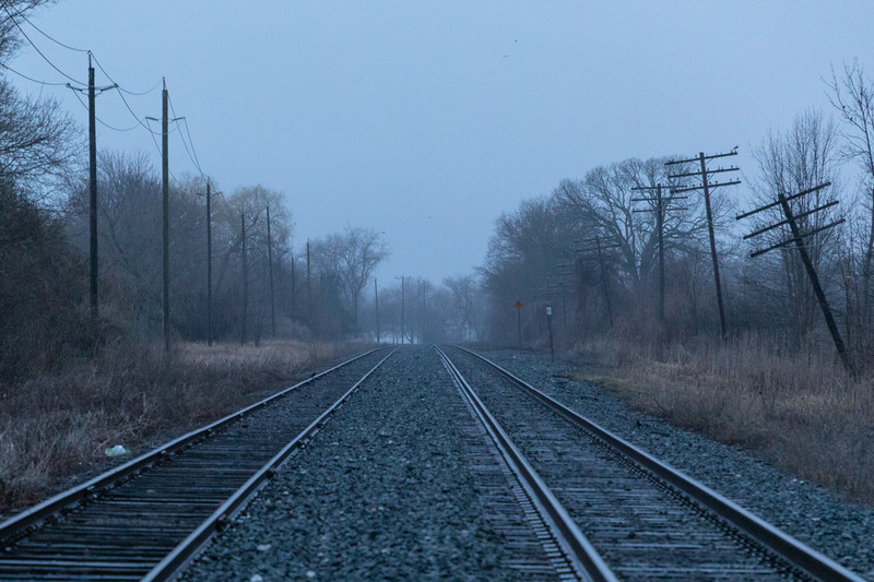Looking west along the Canadian Pacific tracks from Herchimer Avenue on a foggy morning.