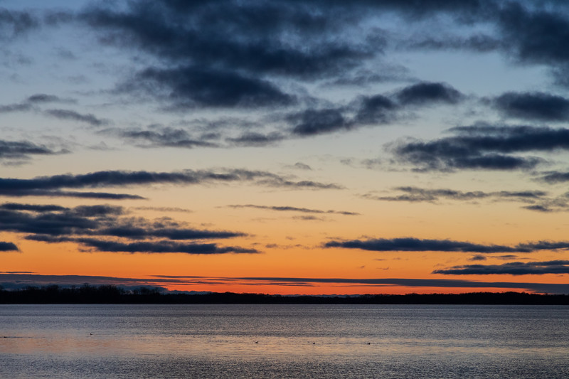 Looking down the Bay of Quinte before sunrise.