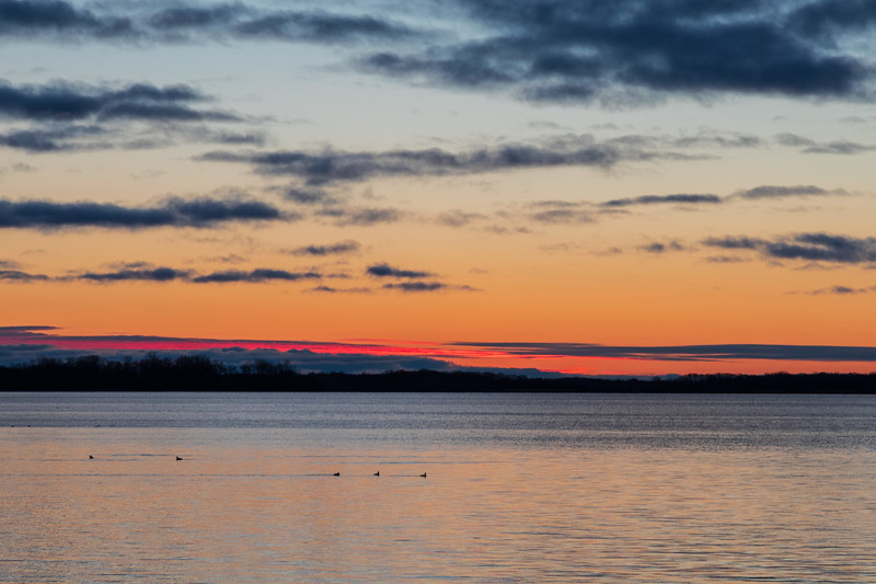 Purple horizontals down the Bay of Quinte before sunrise.
