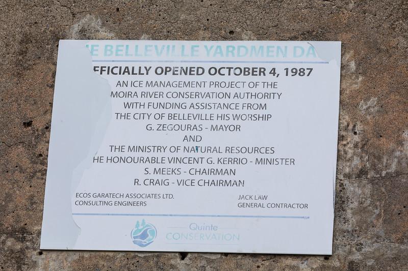 Belleville Yardmen Dam officially opened October 4 1987. Plaque.