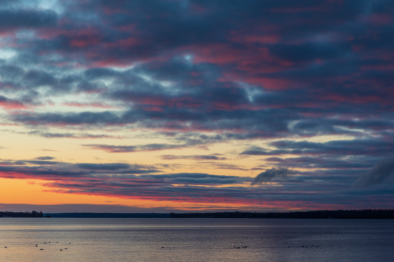 Purple skies looking away from where the sun will soon rise over the Bay of Quinte 2019 April 10.