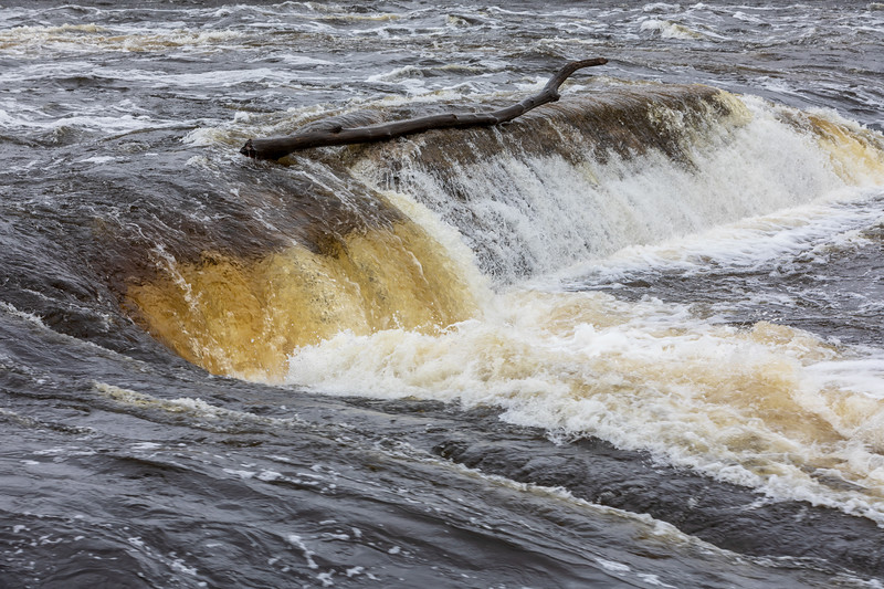 Water flowing over the former Lazier Dam.