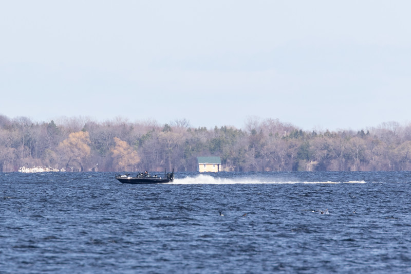 Boat on the Bay of Quinte 2019 April 28.
